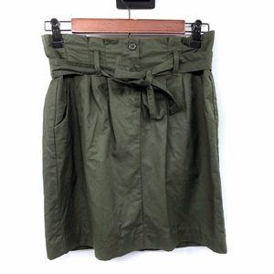 Banana Republic Green Paperbag Twill Mini Skirt